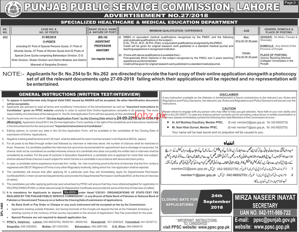 Punjab Public Service Commission PPSC Jobs September 2018 2018 Jobs ...