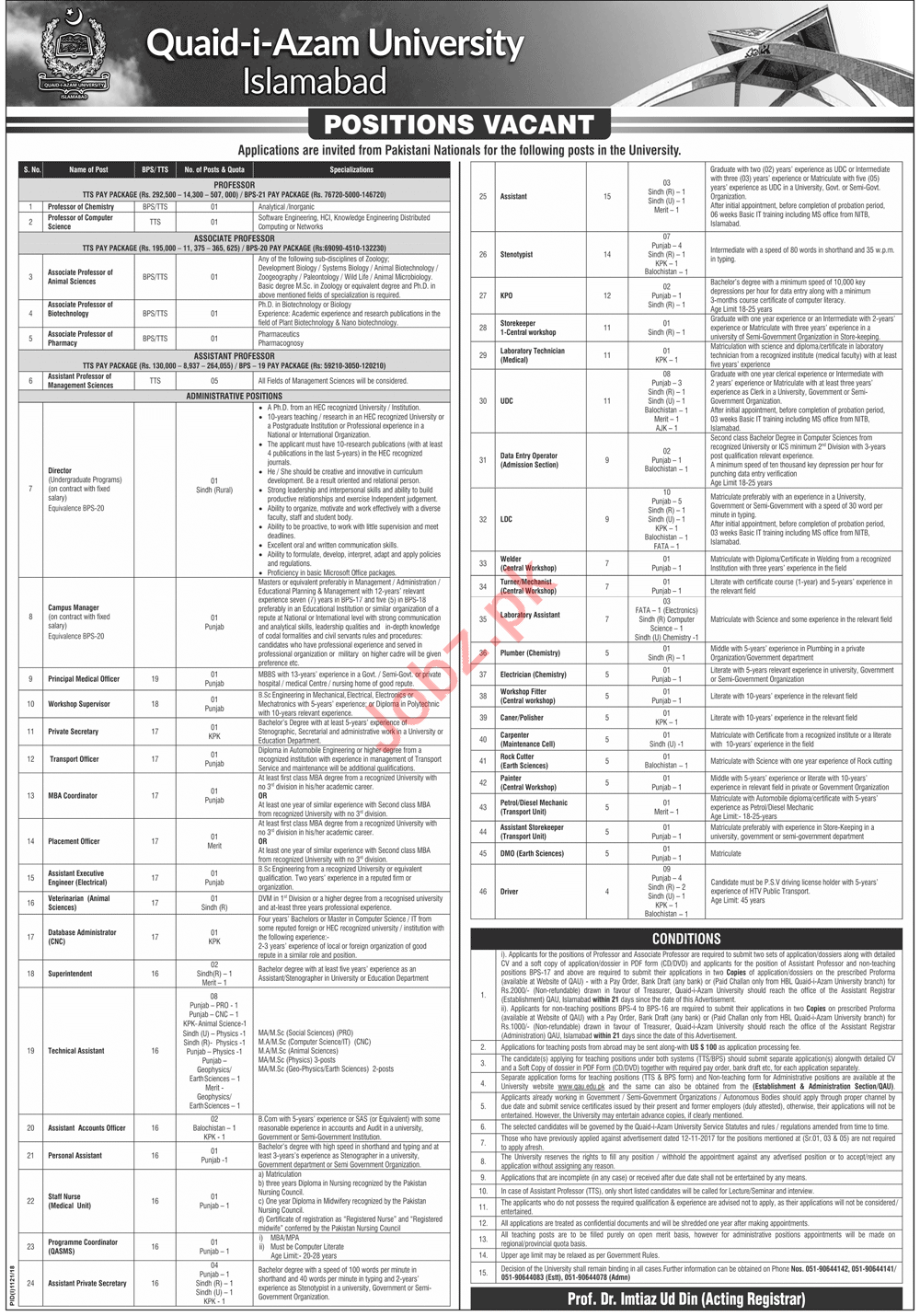 Quaid i Azam University Islamabad Jobs 2018 for Officers