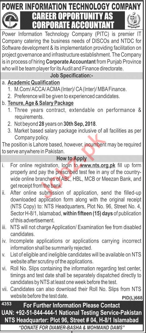 PITC Islamabad Jobs 2018 for Corporate Accountant