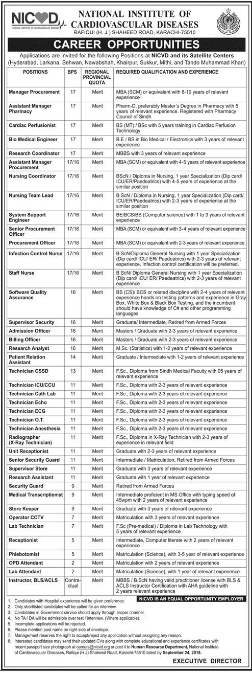 Manager Procurement Jobs in NICVD Karachi
