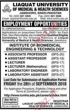 LUMHS Associate Professor Jobs 2018