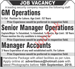 Security Company GM Operations Jobs 2018