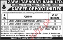 Zarai Taraqiati Bank Limited Management Jobs 2018