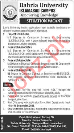 Bahria University Islamabad Campus Jobs 2018