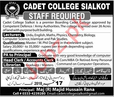 Cadet College Sialkot Lecturer Jobs