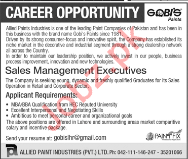 Allied Paint Industries Ltd Sales Management Executives Jobs