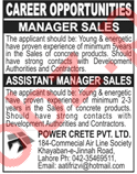 Power Crete Lahore Jobs 2018 for Manager Sales