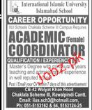 Female Academic Coordinator Job in IIUI School