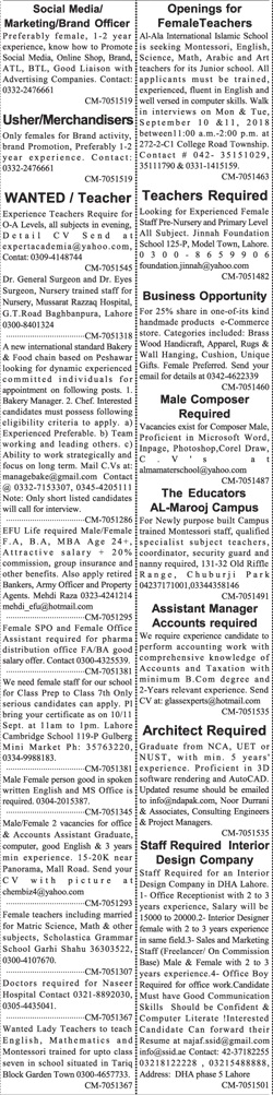 Sunday Jang Classified Ads for Miscellaneous Staff