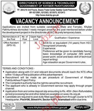 Office Assistant Jobs in Directorat of Science & Technology