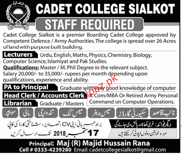 Cadet College Sialkot Lecturers Jobs