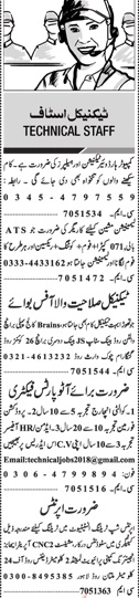 Jang Sunday Classified Ads 2018 for Technical Staff