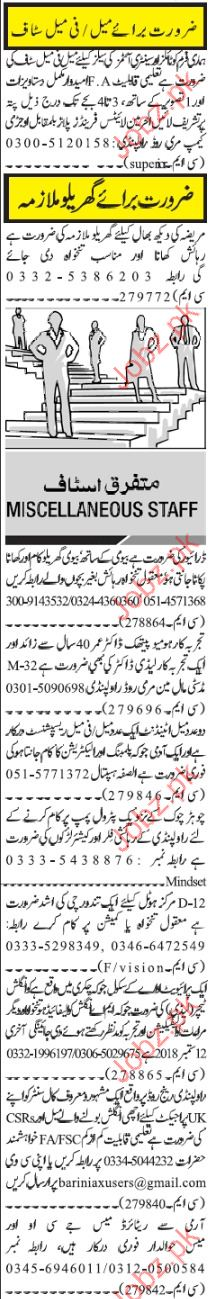 Miscellaneous Staff Jobs in Islamabad