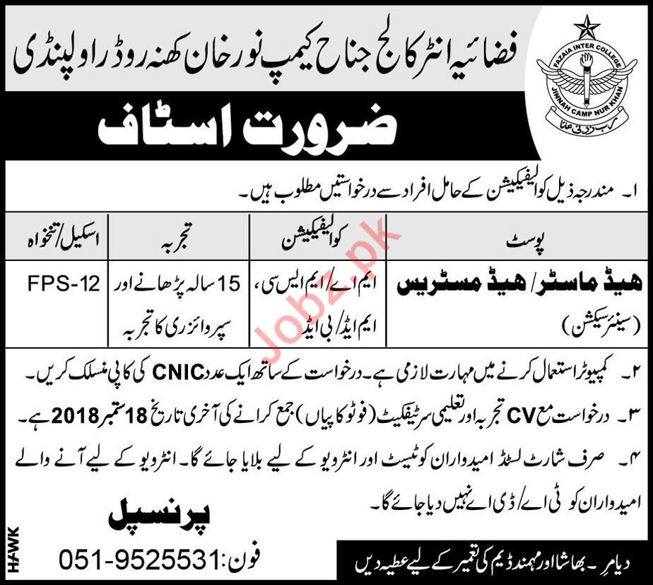 Fazaia Inter College Jinnah Camp Headmaster Jobs