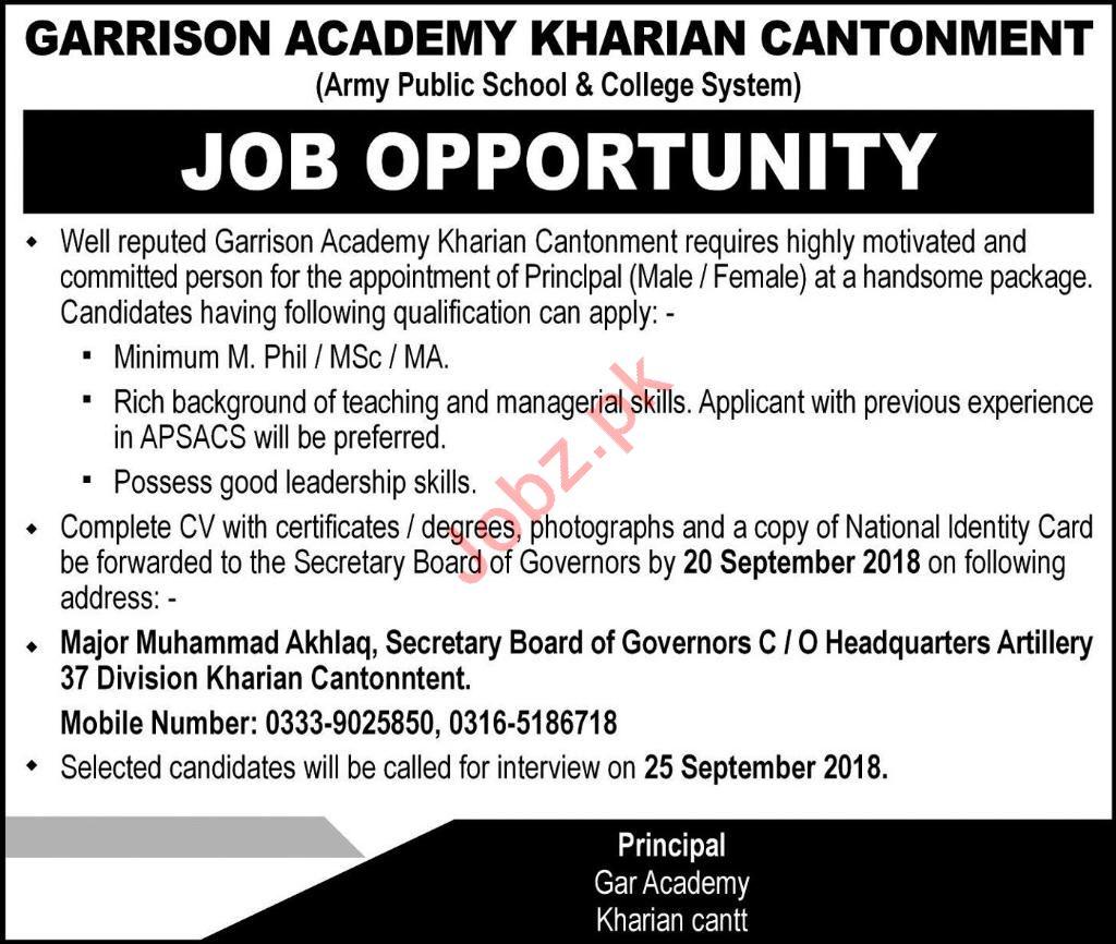 Garrison Academy Kharian Cantonment Principal Jobs