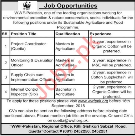 WWF Pakistan Jobs Project Coordinator and M&E Officer 2018