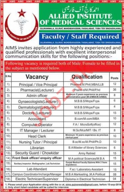 Allied Institute of Medical Sciences Faisalabad Jobs 2018