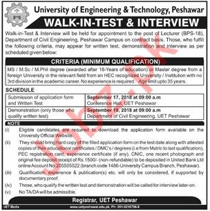 UET Peshawar Jobs Interview 2018 for Lecturers