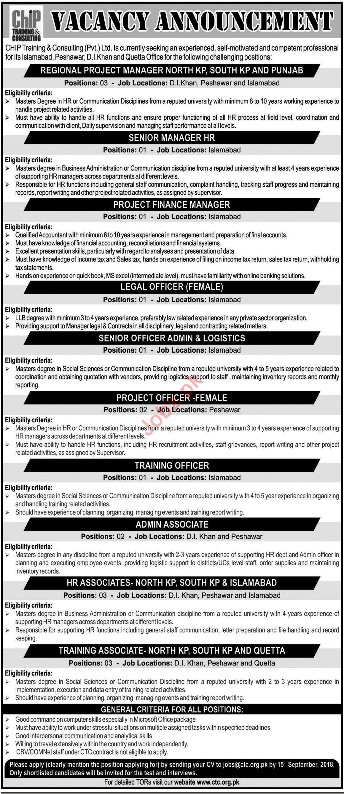 Chip Training & Consulting Pvt Ltd Jobs 2018