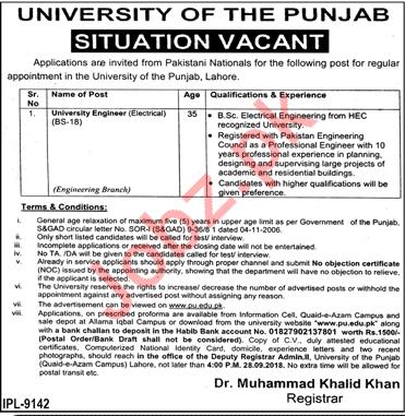 University of The Punjab PU Engineer Electrical Job 2018