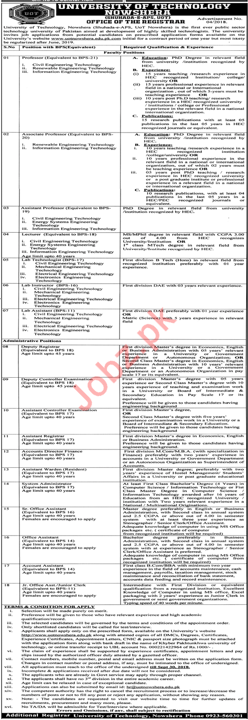 University of Technology Faculty & Administrative Positions