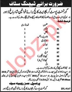 Government Postgraduate College Teaching Jobs 2018 in Lahore