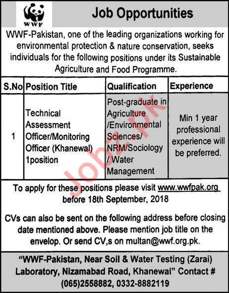 WWF-Pakistan Jobs 2018 Technical & Monitoring Officer