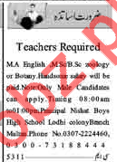 Nishat School For Boys Teachers Jobs 2018 in Multan