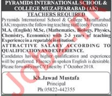 Pyramids International School & College AJK Teachers Jobs