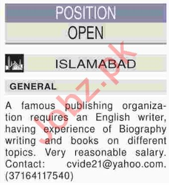 English Writer Jobs Opportunity in Islamabad