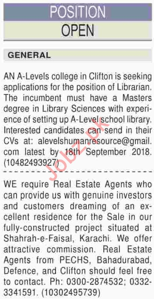 Real Estate Agents & Librarian Jobs 2018 in Karachi