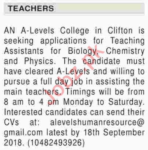 Teaching Assistants Jobs 2018 in Karachi