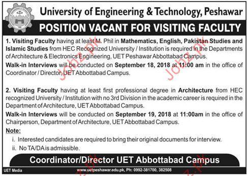 University of Engineering & Technology Teaching Jobs 2018