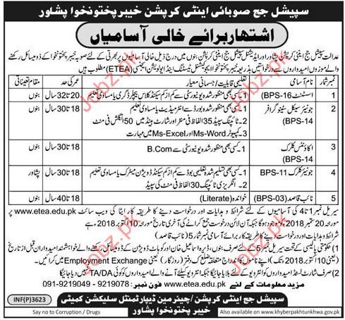 Assistant Jobs in Special Judge Anti Corruption Court Jobs