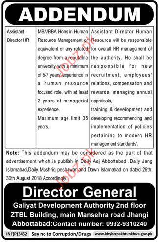 Assistant Director HR Jobs in Galiyat Development Authority