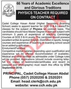 Physics Teachers for Cadet College Hasan Abdal