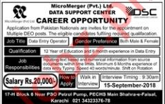 Micro Merger Pvt Ltd Data Entry Operator Jobs