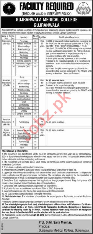 Gujranwala Medical College GMC Professors Jobs Interview
