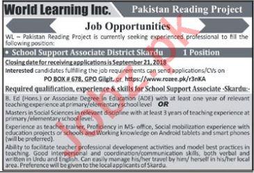 World Learning Inc School Support Associate Jobs in Skardu