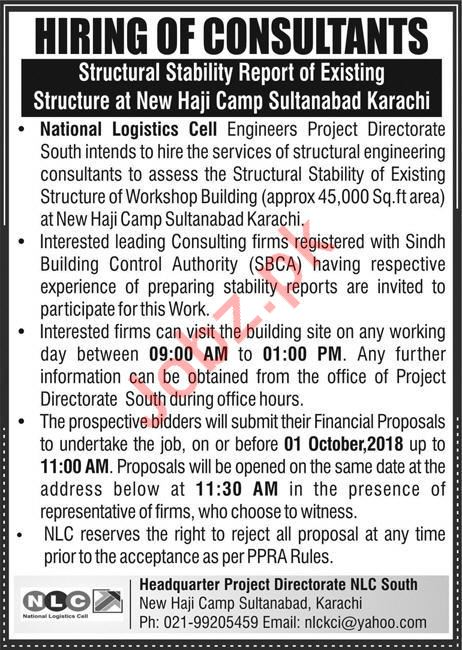 National Logistics Cell NLC Consultant Jobs 2018