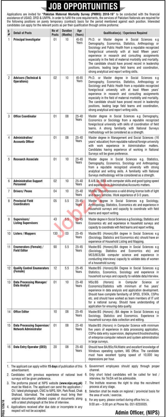 Pakistan Maternal Mortality Survey PMMS Islamabad Jobs 2018