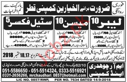 Labors, Mason & Steel Fixers Jobs 2018 in Qatar