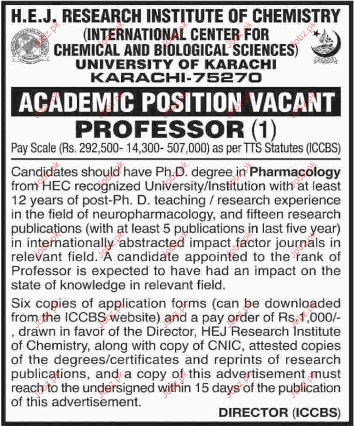 Professor Jobs in HEJ Research Institute of Chemistry