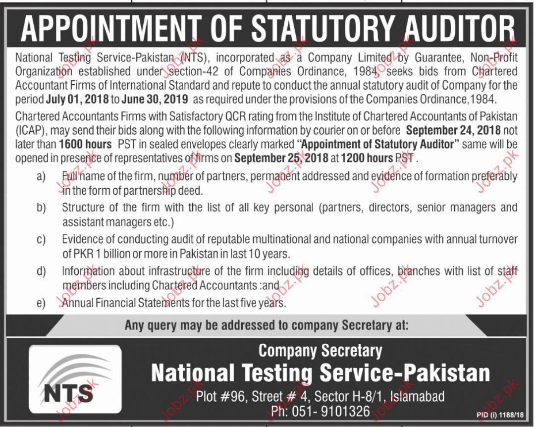 National Testing Service NTS Statutory Auditor Jobs 2018