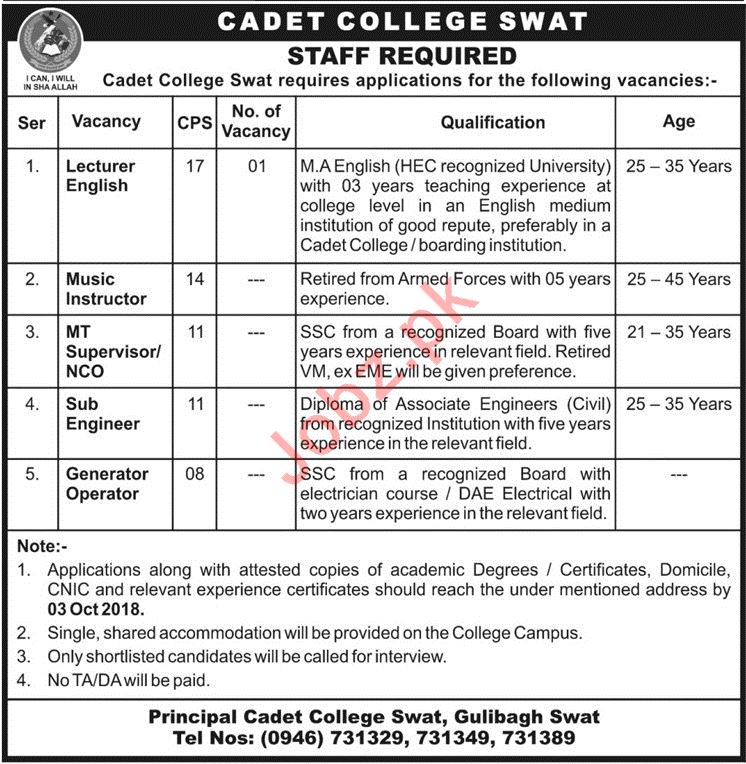 Cadet College Swat Lecturer Jobs