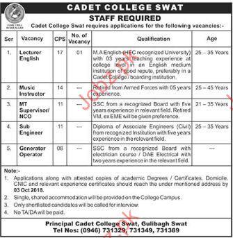 Cadet College Swat Teaching Jobs 2018