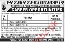 Zarai Taraqiati Bank Limited Management Jobs 2018