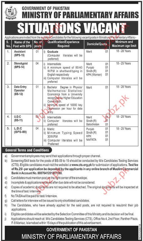 Ministry of Parliamentary Affairs Assistant Jobs 2018