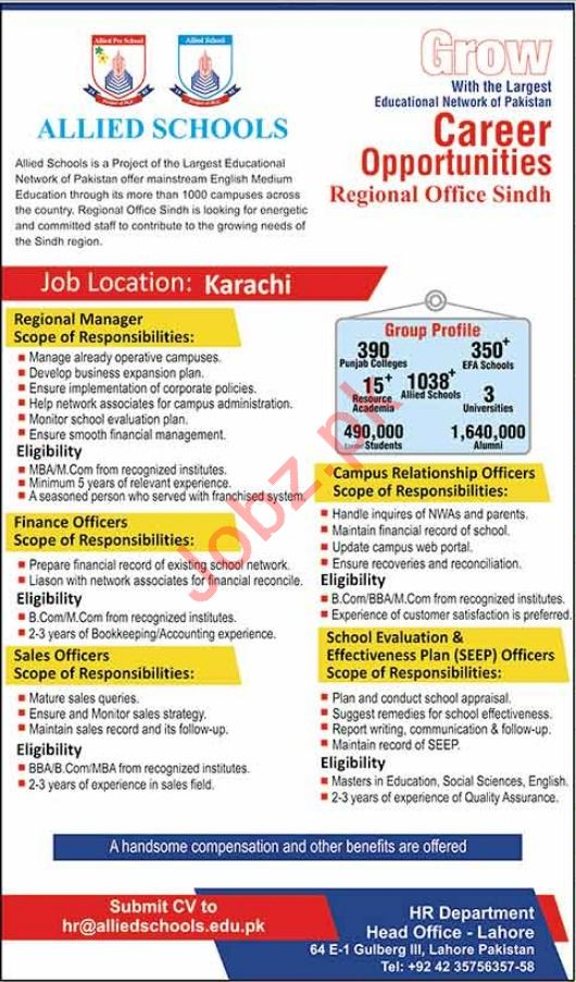 Allied Schools Lahore Jobs for Managers & Finance Officers