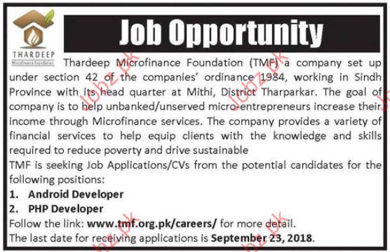 Thardeep Microfinance Foundation TMF Android Developer Jobs